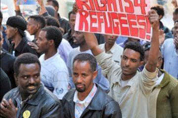 Caption: Darfur refugees protesting in Israel