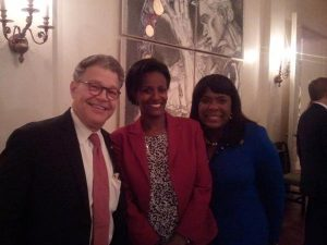 Tsedale Lemma with Terri A. Sewell (right) & Al Franken (left)