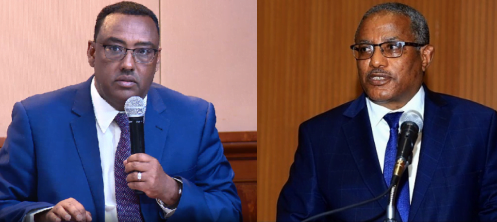 The incoming Foreign Minister Demeke Mekonnen (left) & Outgoing Foriegn Minister Gedu Andargachew